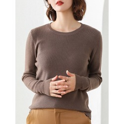 Berrylook Round Neck Brief Plain Long Sleeve Knit Pullover clothing stores, cheap online stores, cardigan sweaters for women, fall sweaters