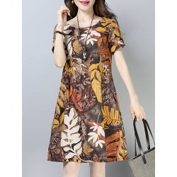 Berrylook Round Neck Printed Shift Dress online, shoping, printing Shift Dresses, below the knee dresses, tunic dress