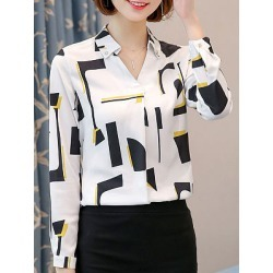 Autumn Spring  Polyester  Women  Turn Down Collar  Decorative Button  Geometric  Long Sleeve Blouses
