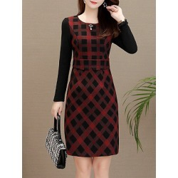Berrylook Long Sleeve Slim Round Neck A-Line Dress shop, sale, tea dress, shirt dress found on Bargain Bro India from Berrylook for $15.95