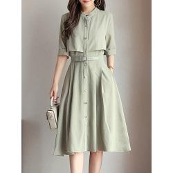 Round Neck  Patch Pocket Single Breasted  Belt  Plain Maxi Dress