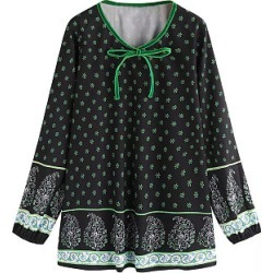 Berrylook Tie Collar Printed Long Sleeve Blouse online sale, sale, red blouse, blouses for women