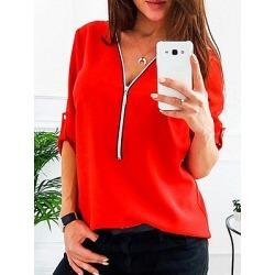 Berrylook V Neck Chain Patchwork Plain Blouses online sale, sale, button up shirts for women, shirts & tops