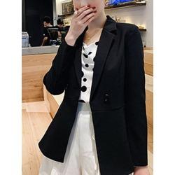 Berrylook Notch Lapel Single Button Plain Blazer sale, online sale, wool blazer womens, black blazer