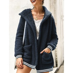 Hooded Plain Striped Outerwear