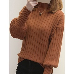 Berrylook Short High Collar Elegant Plain Long Sleeve Knit Pullover shoping, stores and shops, Solid Pullover, long cardigan, cardigan sweaters for women