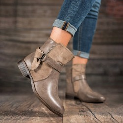Berrylook Distressed Plain Round Toe Boots shop, stores and shops,
