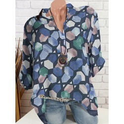 Berrylook V Neck Printed Long Sleeve Blouse clothing stores, sale, printing Blouses, tunic tops for women, lace top