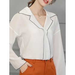 Berrylook Turn Down Collar Patchwork Long Sleeve Blouse shoppers stop, online sale, splice Blouses, blouses for women, shirts for women