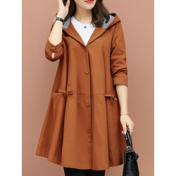 Berrylook Casual loose cloak hooded coat clothing stores, sale, jean jacket with fur, mens coats sale