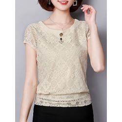 Berrylook Round Neck Plain Lace Short Sleeve Blouse shop, sale, Solid Blouses, summer tops for women, cute tops for women