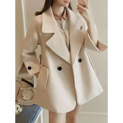 Berrylook Notch Lapel Plain Split Sleeve Outerwear clothing stores, sale, cute winter coats, army jacket womens