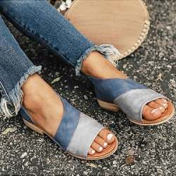 Berrylook Flat Peep Toe Casual Flat Sandals clothing stores, clothes shopping near me, Color Flat Sandals,