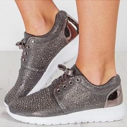 Berrylook Women's Fashion Rhinestone Lace-Up Casual Flats online sale, shop, plain Sneakers,