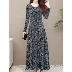 Berrylook Long Sleeve V-Neck Print Dress clothes shopping near me, fashion store, off the shoulder dress, homecoming dresses found on Bargain Bro India from Berrylook for $21.95