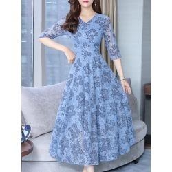 Berrylook Round Neck Printed Maxi Dress online sale, sale, Solid Maxi Dresses, tea length dresses, homecoming dresses