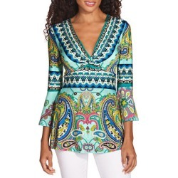 Border Print Flare Sleeve Twist Top | Boston Proper found on Bargain Bro from  for $59.98