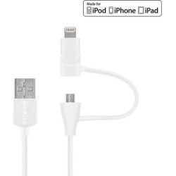 Amzer MFi Certified Lightning to Micro USB Sync & Charge Cable (3.2 Feet/ 1 Meter) - White