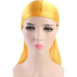Bright Soft Silky Chemo Scarf Cap Muslim Turban Hat Durag Headwrap Yellow