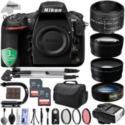 Nikon D810 36.3MP 1080P DSLR Camera w/ Wi-Fi & GPS Ready - 7 fps + 4 Lens - 21 to 100mm - 128GB - 30PC Kit - Nikon 50mm 1.8D + Opteka 10X Macro + 2.2X