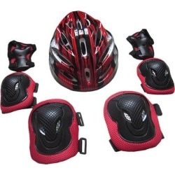 7x Adults Sports Protection Set Knee Pads Elbow Pads Hand Pads Helmet Red