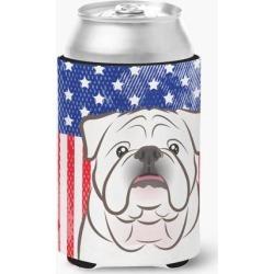 American Flag and White English Bulldog Can or Bottle Hugger BB2150CC