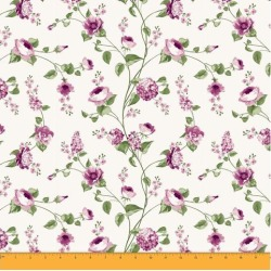 Soimoi Floral Printed 60 GSM Dressmaking 58 Inches Wide Cotton Fabric For Sewing By The Meter - Plum