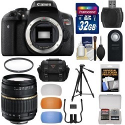 Canon EOS Rebel T6i Wi-Fi Digital SLR Camera Body with Tamron 18-200mm Lens + 32GB Card + Case + Filter + Tripod + Diffusers + Kit