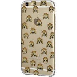 iPhone 6 Plus Case, Emoji Clear Desgin Printed Pattern Soft Skin Fit Clear Case for iPhone 6s Plus - The Monkeys