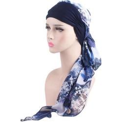 Women Cancer Hat Chemo Inner Cap Hair Loss Head Scarf Turban Wrap Navy