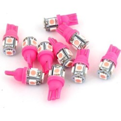Unique Bargains 10 x T10 194 168 W5W Pink 5050 SMD 5-LED Car Auto Wedge Light Dashboard Lamp