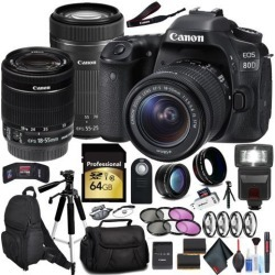 Canon EOS 80D DSLR Camera (Body Only) and EF-S 55-250mm Lens Bundle International Model