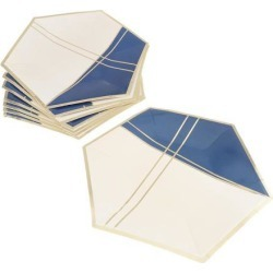 8 Pieces Hexagonal Disposable Paper Plate Tableware for Wedding Party 26cm