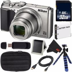 Nikon COOLPIX A900 Digital Camera (Silver) 26505 International Model + EN-EL12 Replacement Lithium Ion Battery + 32GB SDHC Class 10 Memory Card +