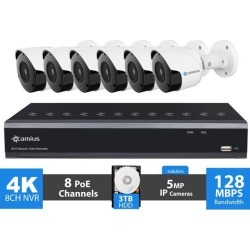 Camius Ultra HD 4K 8 Channel NVR PoE Security IP Camera System with Hard Drive 3TB, 6 x 5MP Wired Video Surveillance IP Bullet Cameras 2592x1944p, found on Bargain Bro India from Newegg Business for $669.00