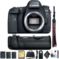 Canon EOS 6D Mark II DSLR Camera (Body Only) w/ Sandisk Memory Card, Carrying Case, Extra Battery Combo International Model