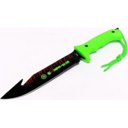 Zombie-War 13' Stainless Steel Hunting Knife with Neon Green Handle Fish Hook Blade