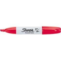 Sharpie 38202 Permanent Marker, 5.3mm Chisel Tip, Red, Dozen