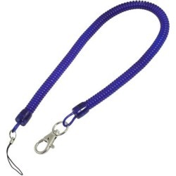 Blue Coiled Cable Design Plastic Stretchy Key Chain Strap w Lobster Clip