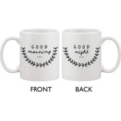 Cute Ceramic Coffee Mug - Good Morning Good Night 11oz Coffee Mug Cup