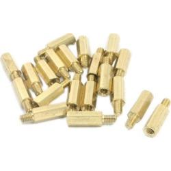 M3 x 15mm x 21mm Male to Female Brass PCB Hexagonal Standoff Spacer 20 Pcs