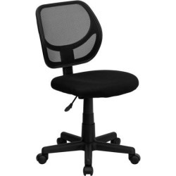 Mid-Back Black Mesh Swivel Task Chair with Curved Square Back