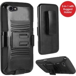 Alcatel Crave Case, Heavy Duty Dual Layer Rugged TUFF Holster Defender Full Body Protective Hybrid [Shockproof Hard Case] Cover with Side Kickstand