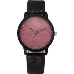 Fashion Cute Women Watches Quartz Precise Timing Ladies Faux Leather Sky Stars Wrist Watch Pink Sky stars
