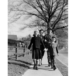 Posterazzi SAL255421843 Parents with Children on Sidewalk Poster Print - 18 x 24 in.