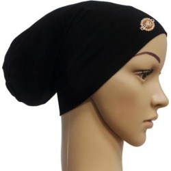 Women Muslim Stretch Hijab Hat Hair Loss Cover Scarf Chemo Cap Black