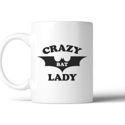 Crazy Bat Lady White Ceramic Mug Halloween Decorative Coffee Mug