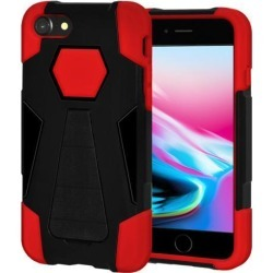 Amzer Dual Layer Hybrid KickStand Case - Black/ Red for iPhone 8