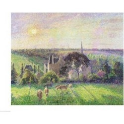 Posterazzi BALXIR8074LARGE The Church & Farm of Eragny 1895 Poster Print by Camille Pissarro - 36 x 24 in. - Large