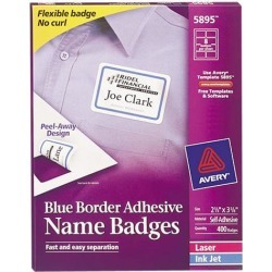 Avery 5895 Flexible Self-Adhesive Laser/Inkjet Name Badge Labels, 2-1/3 x 3-3/8, BE, 400/Bx